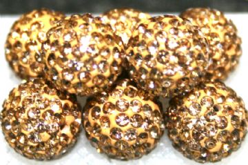 10mm Gold 115 Stone - Pave Crystal Beads- Half Drilled PCBHD10-115-012